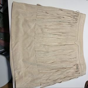 JOA fringe suede skirt